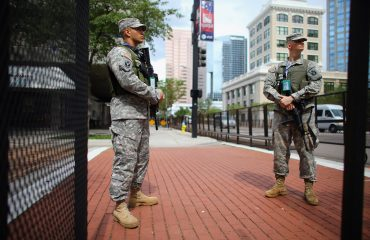 TAMPA, FL - AUGUST 25:  Florida National Guard members are seen guarding a building as they provide security for the Republican National Convention being held at the Tampa Bay Times Forum on August 25, 2012 in Tampa, Florida. The convention starts the week of August 27th.  (Photo by Joe Raedle/Getty Images)